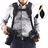 Quick Release Double Dual Camera Shoulder Strap Harness,Konsait Adjustable Dual Camera sling Camera Neck Strap With Dust Brush And Dust Blower Ball Reviews