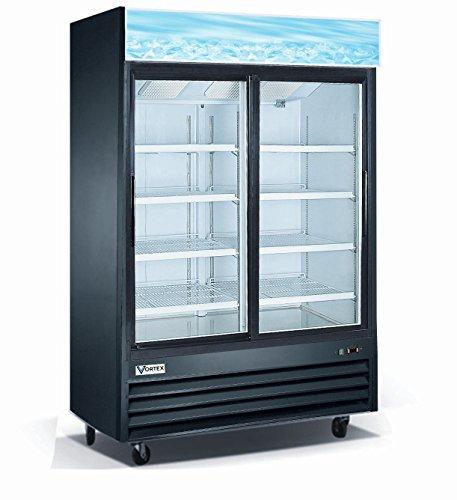 Vortex Refrigeration 2 Sliding Glass Door Black Merchandiser Refrigerator - 45 Cu. Ft. Refrigerator 2 Sliding Doors