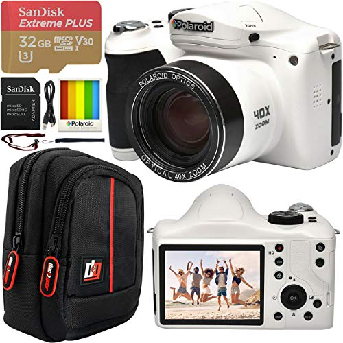 "Polaroid 18MP 40x Optical Zoom Digital Camera with HD Video 3"" LCD Screen and Built in Flash IE4038WHT Bundle w/Deco Gear Camera Bag Case + SanDisk 32GB Extreme Plus microSD Memory Card & SD Adapter"
