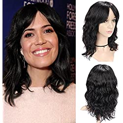 "WIGNEE 100% Virgin Human Hair Natural Wave Wigs with Bangs Brazilian Human Hair Wave Wigs Natural Black Color (14"")"