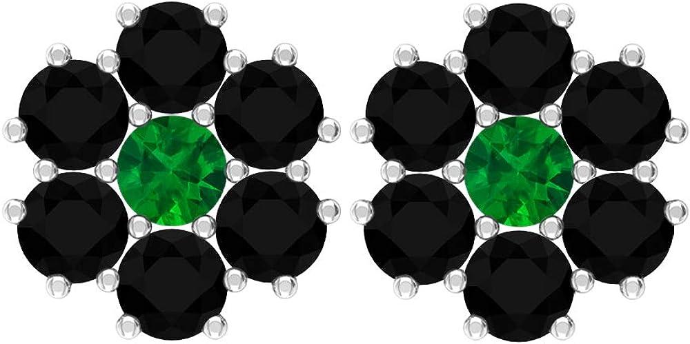Pendientes de tuerca de 0,66 quilates, piedra preciosa redonda, 3 mm, esmeralda, 3 mm, ónix negro, pendientes de oro floral, regalo de joyería para ella, tornillo