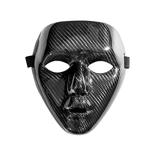 Idealforce Carbon Fiber Men Masquerade Full Face Mask,Party Dance Ball Phantom Mask Black (Phantom Mask Full)