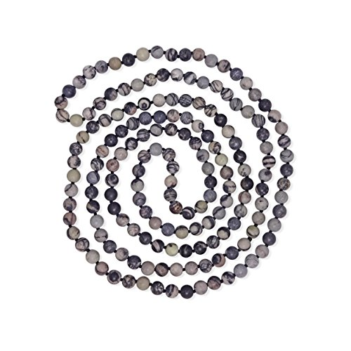 MGR MY GEMS ROCK! BjB Long Endless Matte Finish Semi-Precious Stone Necklace, 60 Inches Long. (Black Vein Jasper)