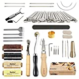 SIMPZIA 52 pcs Leather Kit, with Stitching Groover, Prong Punch and Leather Working Saddle Making Stamps Tools Set for DIY Leathercraft Carving Sewing Projects