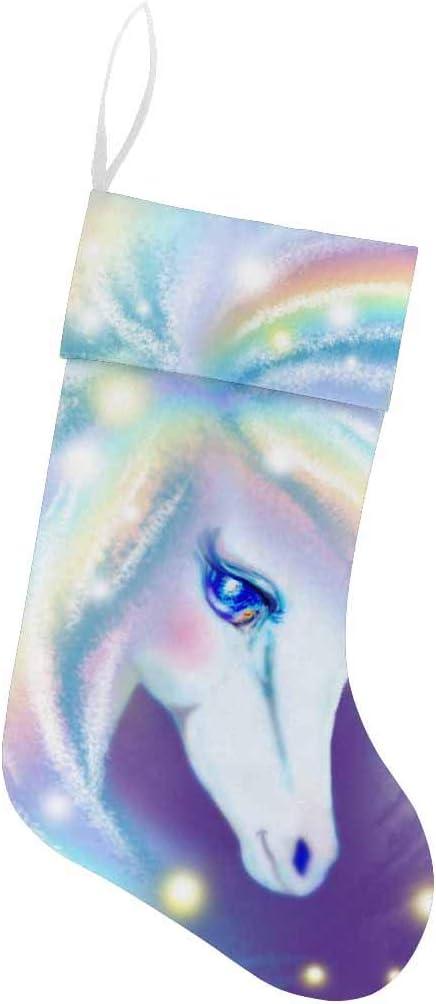 INTERESTPRINT Rainbow Magic Unicorn Christmas Stocking for Family Xmas Party Decoration Gift