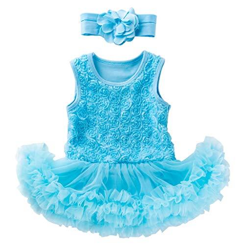 ZEFOTIM Baby Girls Dress,0-18M 2 PCS Toddler Baby Girls Sleeveless Flower Dress +Headband Outfits Set(Blue,59)