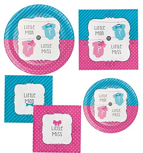 - Gender Reveal Party Supply Kit! Bundle Includes Paper Plates and Napkins for 8 Guests in a Bow or Bowtie? Design