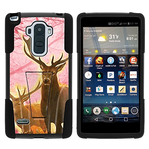 LG Stylo LS770 Case, Dual Layer Shell STRIKE Impact Kickstand Case with Unique Graphic Images for LG G Stylo LS770, LG G4 Stylus (T Mobile, Boost Mobile, Sprint) from MINITURTLE | Includes Clear Screen Protector and Stylus Pen - Pink Deer Stag