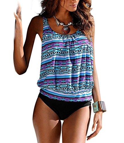 89618cf2c8c D R Beauty Printed Tankini Swimwear Swimsuit. Review - D.R.Beauty Womens  Floral Printed Tankini Swimwear Two Piece Padded Bikini ...