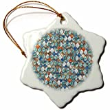 3dRose Uta Naumann Faux Glitter Pattern - Luxury Trendy Grey Colorful Moroccan Arabic Quatrefoil Tile Pattern - 3 inch Snowflake Porcelain Ornament (orn_268953_1)