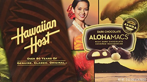 Hawaiian Host Alohamacs Dark Chocolate Macadamia Nuts 12oz Box, 24 Pieces