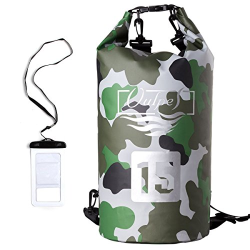 Vulpes Blue Camo Vinyl Coated Waterproof Dry Bag - Holds up to 15L - 500D Fabric - Adjustable Shoulder Strap - Ideal for the beach, hiking, swimming and more [green camouflage]