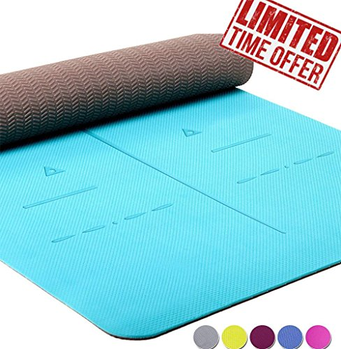 (Heathyoga Eco Friendly Non Slip Yoga Mat, Body Alignment System, SGS Certified TPE Material - Textured Non Slip Surface and Optimal Cushioning,72