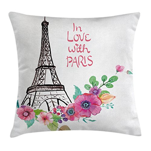 Eiffel Tower Throw Pillow Cushion Cover by Ambesonne, In Love with Paris Quote with Famous French Monument European Retro Artwork, Decorative Square Accent Pillow Case, 20 X 20 Inches, Multicolor (Paris Club Chair)