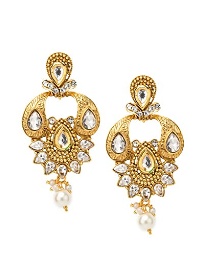 Bindhani Traditional Dangler Faux Diamond Earrings For Girls