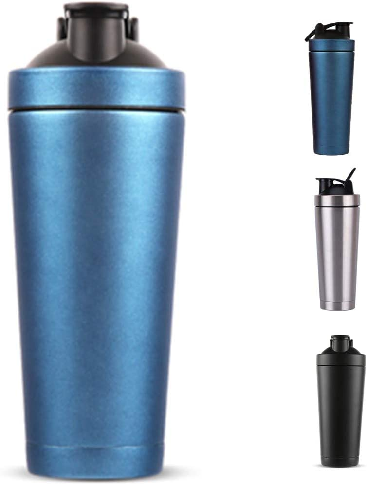 V2 Co.Ltd Shaker Bottles for Protein Mixes,25oz.Portable Travel Mug Stainless Steel,750ml Shaker Cup Keep Hot and Cold for Sport Home Car Gift Travel(Blue)