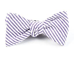 100% Cotton Soft Lavender Seersucker Self-Tie Bow Tie