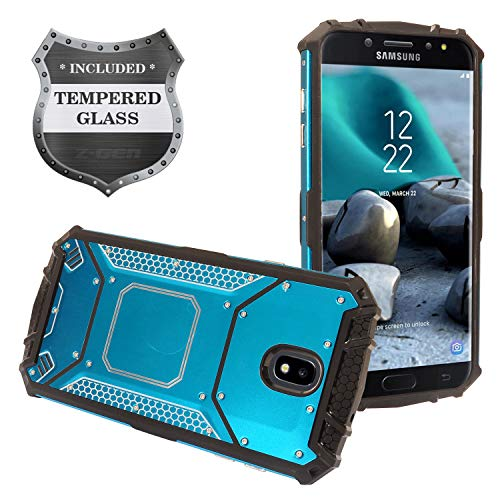 Samsung Galaxy J7 (2018), J7 Refine, J7 Star, J7 Crown, J7 Aura, J7 Top, J7 V J7V 2nd Gen J737 - Aluminum Metal Hybrid Case + Tempered Glass Screen Protector - ZY1 Blue