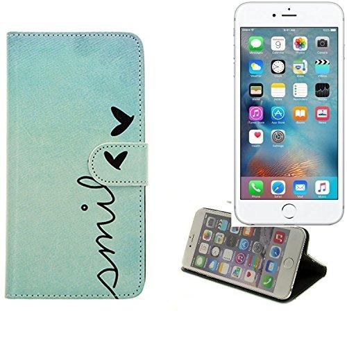 Wallet Case 360° pour Smartphone Apple iPhone 6s Plus, 'smile' | BookStyle Étui sac protection flipstyle flip cover - K-S-Trade (TM)