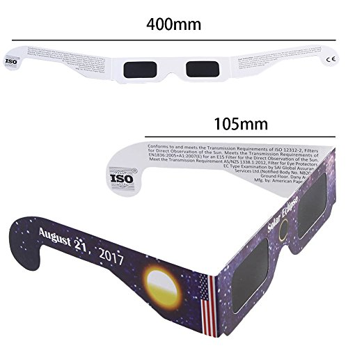 Price comparison product image Suiez Solar Eclipse Observing Glasses CE and ISO Certified Viewer and Filter Random Color