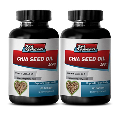 New Chia Seed Oil 2000mg (2 Bottles, 120 Softgels) by Sport Supplements (Image #2)