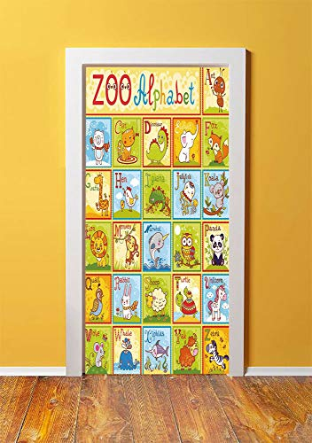 Educational 3D Door Sticker Wall Decals Mural Wallpaper,Zoo Alphabet Design Colorful Style Funny Cartoon Animals Children Kids School,DIY Art Home Decor Poster Decoration 30.3x78.3268,Multicolor
