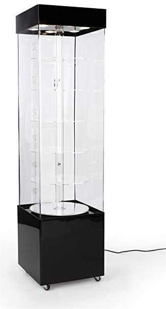 Charming Curio Display Cabinet With Motorized Turntable, 6 Circular Platforms Rotate  360 Degrees, Rotating Display