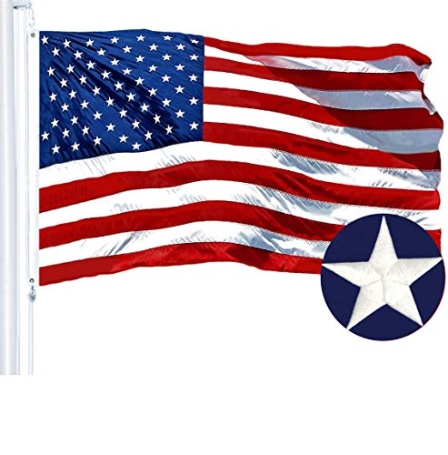 G128 - American USA US Flag 3x5 ft Embroidered Stars Sewn Stripes Brass Grommets ()