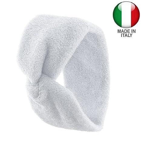1110 - Fascia per capelli spugna di cotone made in Italy cm 7 con nodo centrale - Fasce per capelli (Rosa) Righe e Pois