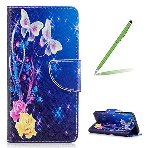 Trumpshop Smartphone Carcasa Funda Protección para Huawei P10 Lite + Familia del búho + PU Cuero Caja Protector Billetera con Cierre magnético Choque Absorción Mariposas blancas