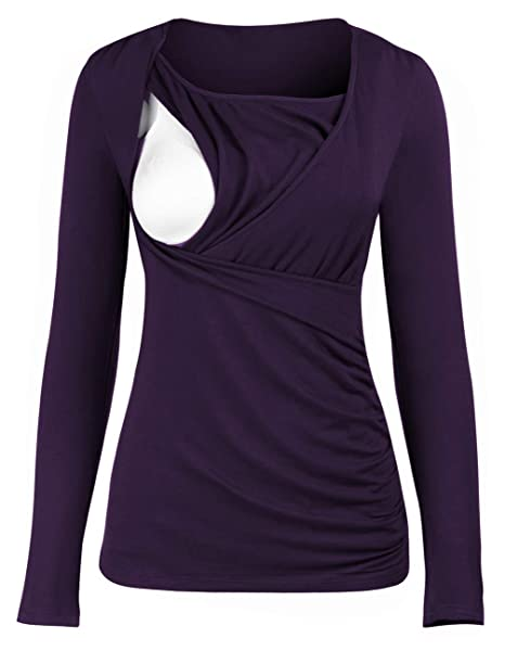 7f571281b0a0e Women's Nursing Top Ruched Side-Shirred Blouse Top Long Sleeve Breastfeeding  Tee Shirt Purple at Amazon Women's Clothing store: