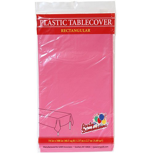 Party Dimensions Rectangle Tablecover, 54 by 108-Inch, Hot Pink ()