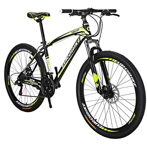 Eurobike EURX1 27.5 Inch Spoke Wheels Mountain Bike 21 Speed Mountain Bicycle Black Yellow