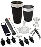 Tiger Chef 14-piece Stainless Steel Bar Set and Cocktail Making Set Includes Bar Tools and Accessories (14 Piece Set, Black)