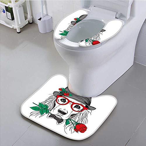 Shag Hat - UHOO2018 Toilet Cushion Suit Dog Cocker Spaniel in Gray hat and Glasses with red Rose Vector Non Slip Comfortable