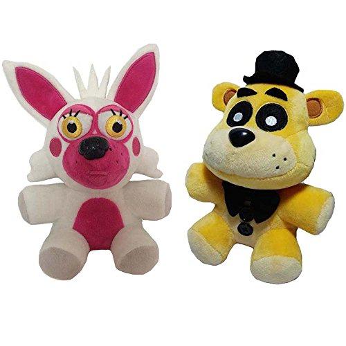 Soft and Beautiful Toys New Foxy & Golden Freddy Bear Stuffed Animal Plush Toys 2pcs/set