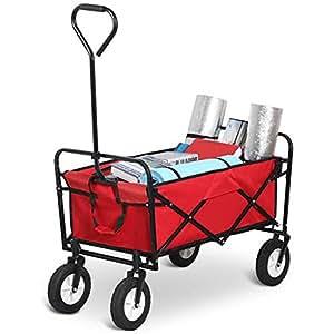 Yaheetech Folding Garden Farm Beach Collapsible Cart Outdoor Indoor Utility Wagon shopping Beach Trolley(Red)