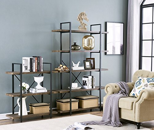 O&K Furniture 3-Shelf Industrial Bookcase and Book Shelves, Free Standing Storage Display Shelves, Brown by O&K Furniture (Image #8)