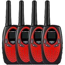 FLOUREON 4 Packs Walkie Talkies Two Way Radios 22 Channel 3000M (MAX 5000M open field) UHF Long Range Handheld Talkies Talky(Red)