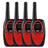 FLOUREON 4 Packs Walkie Talkies Two Way Radios 22 Channel 3000M (MAX 5000M open field) UHF Long Range Handheld Talkies Talky (Red)