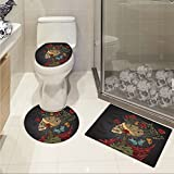 jwchijimwyc Skull pattern Evil Mexican Sugar Skeleton with Kitsch Bush of Roses Snake and Butterfly Artwork 3 Piece Toilet mat set Ruby Dark Grey