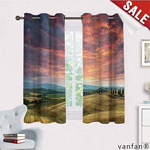 Big datastore Fashion Design Print,Tuscany,Tuscany Italy Cypress Trees and Fields Crop Cloudy Sky Holiday Destination,Blackout Curtain with Grommet Topvermilion Khaki,W72 Xl45