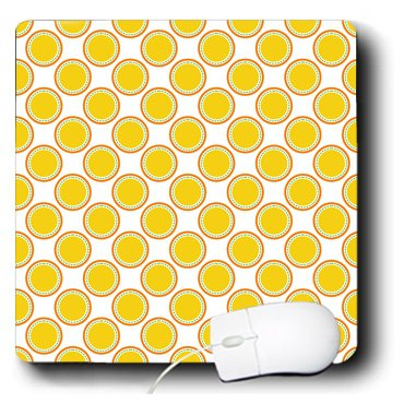 - 3dRose Anne Marie Baugh - Patterns - Cute Yellow, Aqua, and Orange Dotted Circles Pattern - Mousepad (mp_215767_1)
