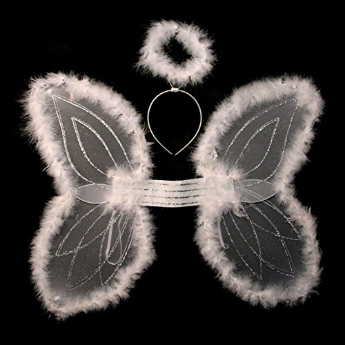 White Marabou Angel Wings & Halo Headband (Angel Halo Costume)