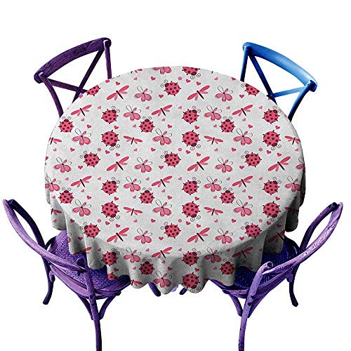 Beihai1Sun Water Resistant Table Cloth,Ladybugs Domed Back Round Ladybugs with Hearts Flowers Dragonflies Romantic Wings Pattern,Stain Resistant, Washable,50 INCH Red White