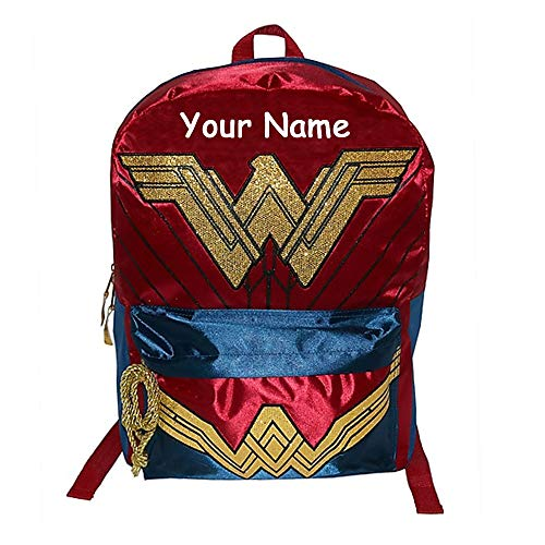 Personalized DC Comics Wonder Woman Glittered Logo Backpack Book Bag with Lasso Rope Zipper and Custom Name - 16 Inches