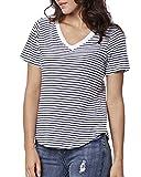 ENIDMIL Women's Striped T-Shirt Tee 100% Cotton(Blue-V,XL)