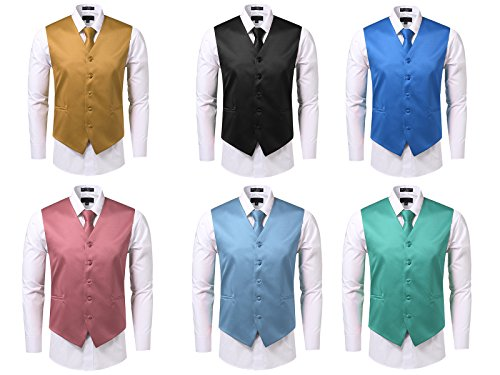 JD Apparel Mens 3 Pieces Solid Tuxedo Vest Necktie and Handkerchief Set(28 Colors, XS-4XL)