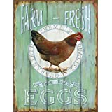 "Barnyard Designs Farm Fresh Free Range Eggs Retro Vintage Tin Bar Sign Country Home Decor 10"" x 13"""