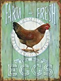"Barnyard Designs Farm Fresh Free Range Eggs Retro Vintage Tin Bar Sign Country Home Decor 10"" x 13"""